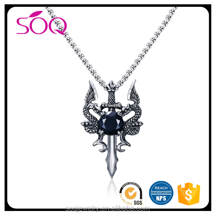 2017 Wholesale Punk men diamond jewelry two playing dragons sword pendant necklace designs
