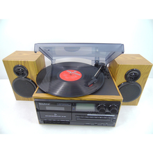 Vintage vinyl turntable cassette player with cd turntable cassette usb and cd