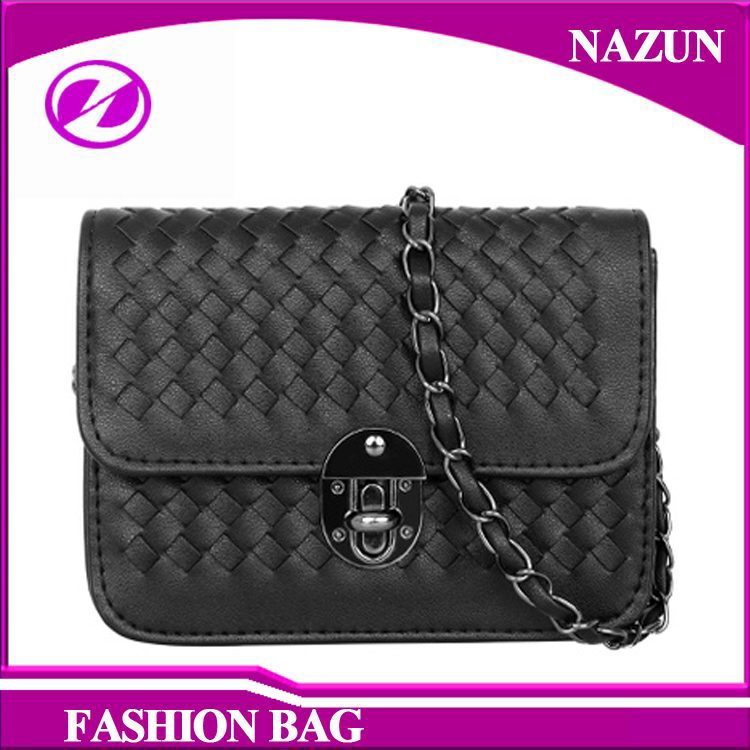 2017 fashion designer synthetic black PU leather Knitting pattern custom design shoulder bags crossbody bags