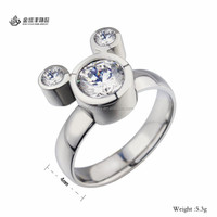 Cute Casting Stainless Steel Rings/Three Stone Women CZ Rings Wholesale