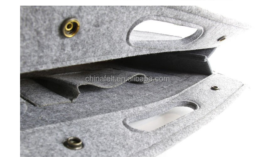 Multi Pocket Grey Felt Handbag A4 document pouch with Zipper