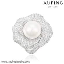 00036 Latest special rhinestone design hat shape brooch pins, luxury rhodium plated pearl brooch for women
