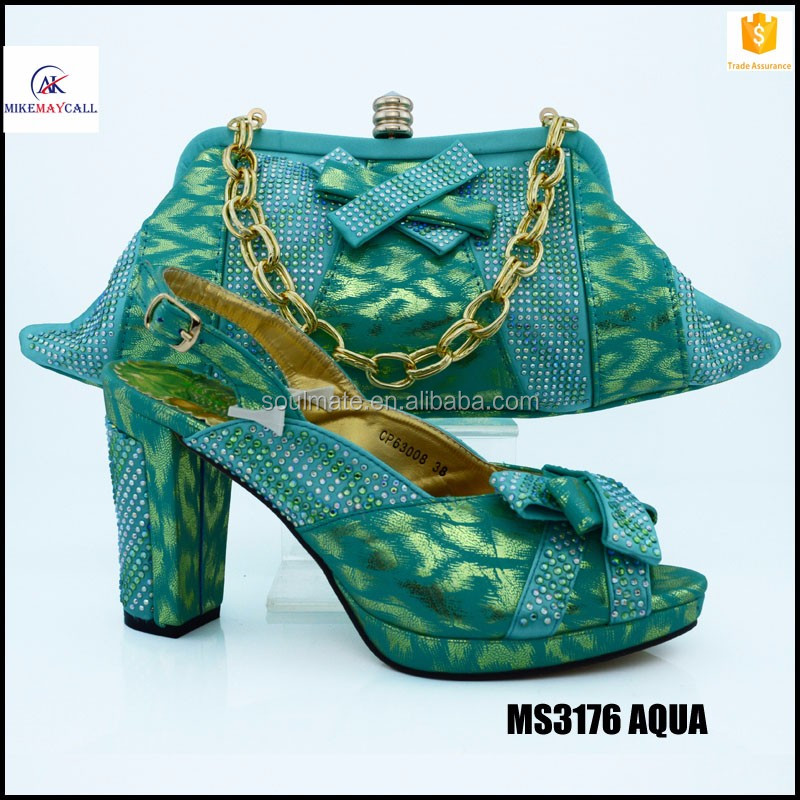 Classics Fashion Rhinestone AQUA Evening Shoes And Bag Set Italian Shoes Matching Bag For Woman