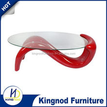 CT-952 ABS fiberglass base dolphins glass coffee table