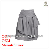 Designer clothing manufacturers in china ladies a-lined pleated grey wrap skirt
