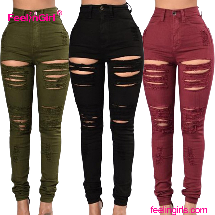 Latest design Alibaba wholesale price ripped jeans damaged jeans pattern