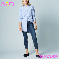 women's blue striped long shirt