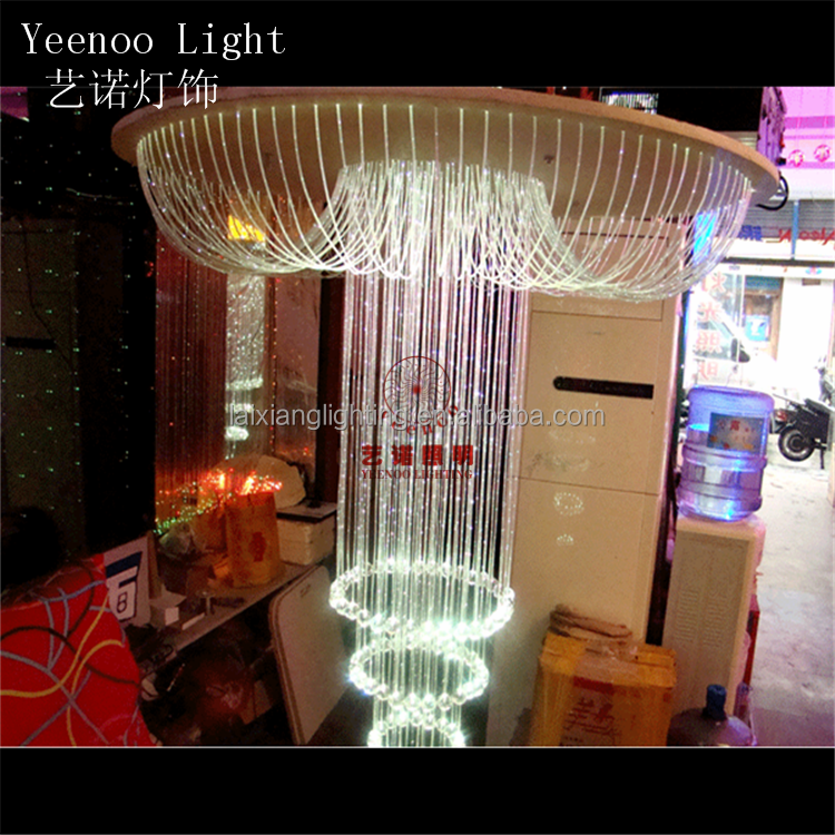 yeenoo large crystal ceiling lamp for hotel decoration /fiber optic light series d2 lamp with K9 crystals