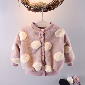 YQ14 winter hot style girls thickened pile coat single-breasted long sleeve coat for baby girl