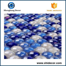 Sea Blue Pebble Wall Decoration Crystal Glass Mosaic Tile