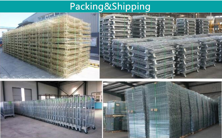 Wire mesh rolling trolley  storage cage in warehouse