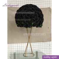 LFB835 customized 60cm decorative artificial rose floral centerpiece fake black flower ball