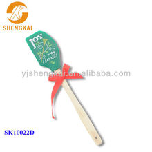 cute silicone baker spatula with long wooden handle
