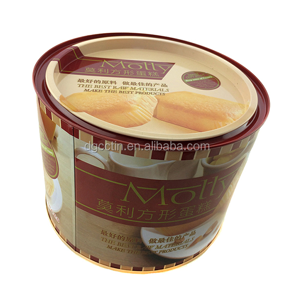 Food grade custom printed round cookie cake biscuit tin box
