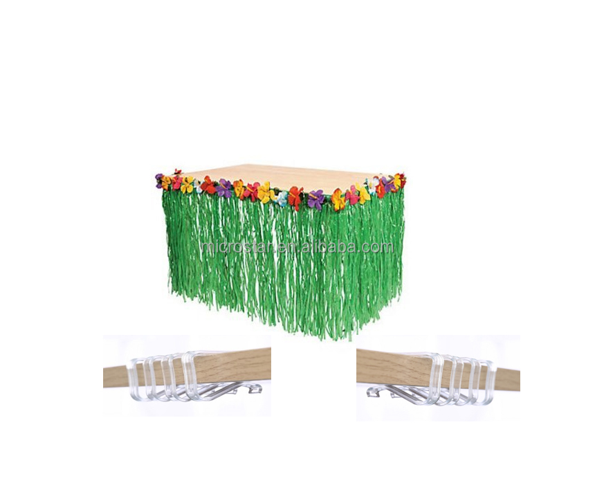 Green Table Skirt Birthday Party Supplies Luau Hawaiian Tropical Grass Table Skirts Skirting Clips Stoppe Party Decoration Set