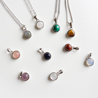 Delicate Healing Gemstone Pendant Natural Stone Round Charm Pendant in Sterling Silver