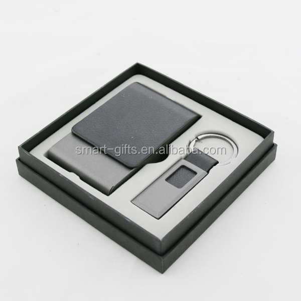 office stationary cheap custom design PU card holder and key holder corporate gift set in bulk