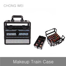 Multifunctional bling aluminum cosmetic makeup train case with handle