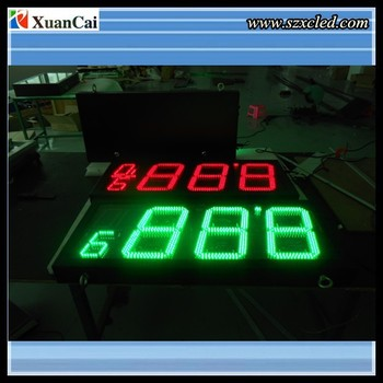 Green 10 inch LED waterproof yellow led gas station price sign