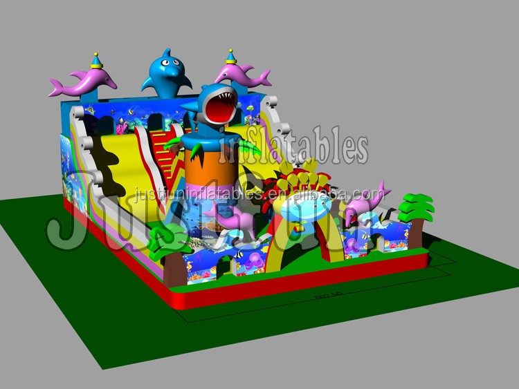 China factory price juegos inflables dolphins giant inflatable playgrounds equipment for children