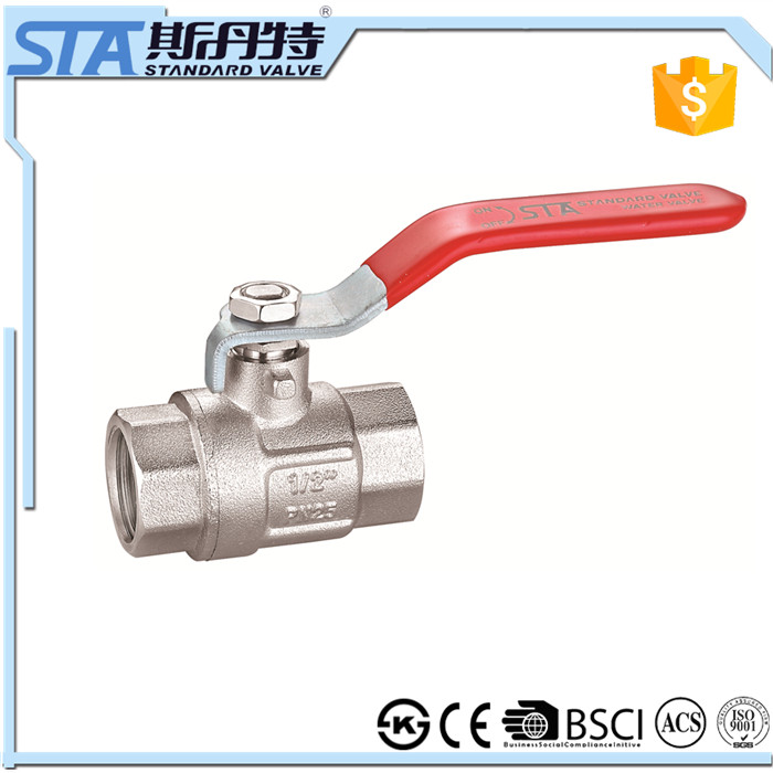 ART.1001 1inch NPT female threaded PN25 reduced port forged brass ball valve lever valve handle nickel plated in Yuhuan Zhejiang
