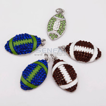 Best selling new product jewelry blue/green/brown crystal silver color softball charms wholesale, custom metal football pendant