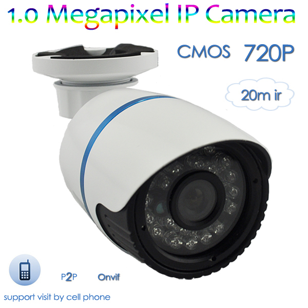 Popular outdoor bullet infrared security network cctv camera, 1.0Megapixels IR Waterproof IP Camera(720P)