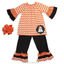 wholesale baby clothes orange chevron halloween girls outfits