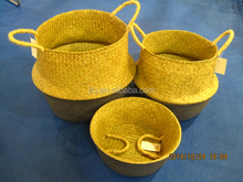 collapsible Eco-friendly rice basket seagrass folding basket woven storage seagrass belly basket with handles