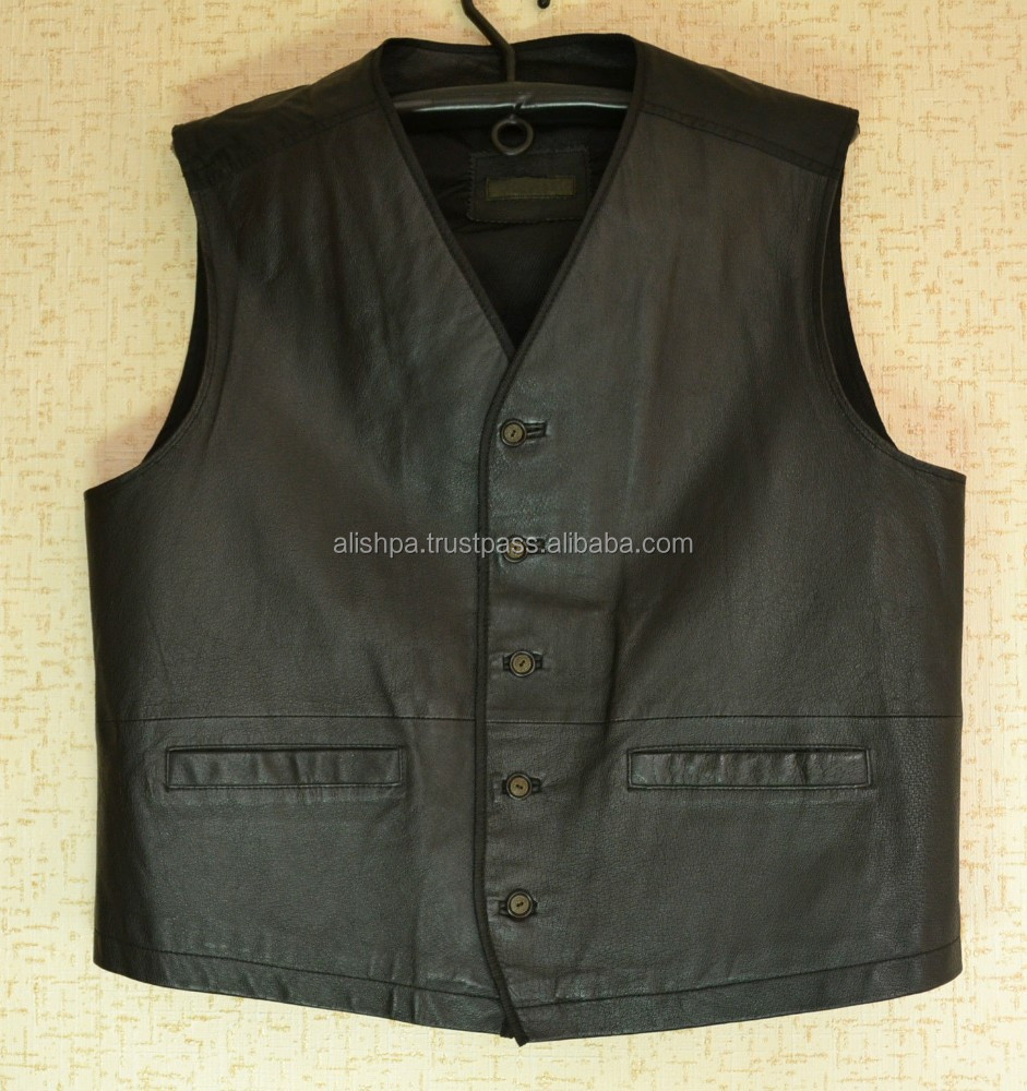 Factory Wholesale Custom Fur Vest Mens Leather Vest Mens Slim Fit Suit Pu Leather Vest