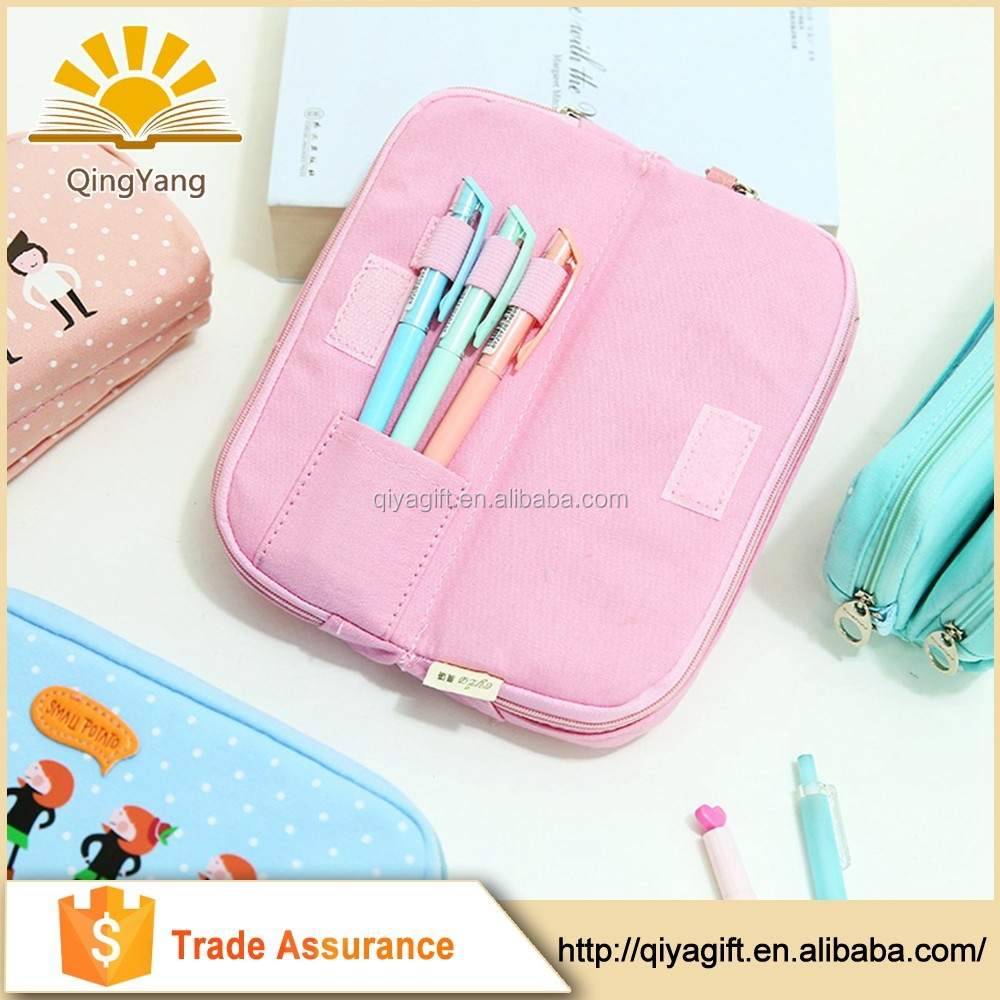 wholesale custom funny cool clear canvas double sided pencil case with compartments