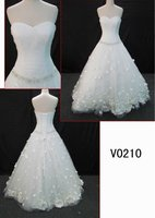 custom made Strapless sweetheart bridal apparel with petal flowers and pleated bodice