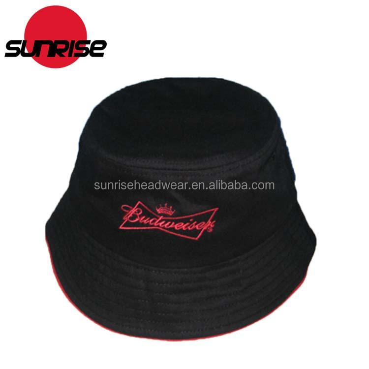 cheap custom men designer 100% cotton black bucket hat with string