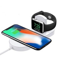 Wireless Charger for Apple Watch 2 in 1 Fast Charging Pad Stand Compatible with for iPhone Xs/XS Max/XR/X/ 8/ Plus