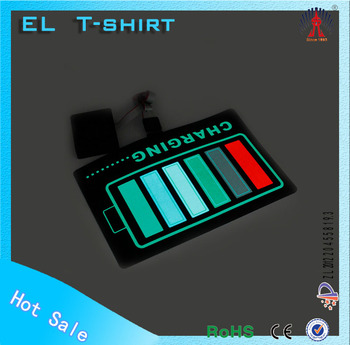 Sound dancing el t-shirt el flashing t-shirt sound active t-shirt