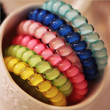 Candy color telephone wire hair band 2015 New Fashion Women multicolor customize elastic hair bands Wholesale