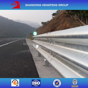 armco highway guardrail with three waves