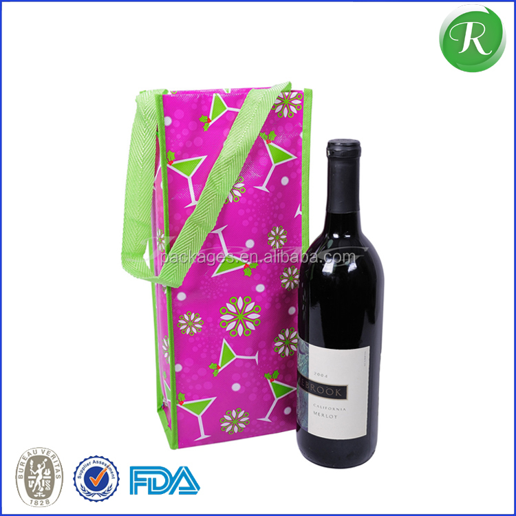 design luxury non woven recycle wine bottle carrier bags