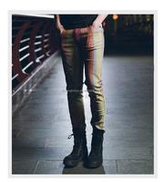 OEM new design fashion colorful print narrow bottom men skinny jeans