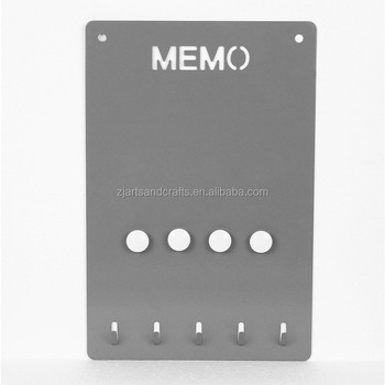 Metal Wall-mounted Message Board with Key Hooks and Magnets