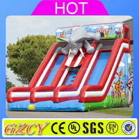Commercial PVC Material Double Lane Kids Giant Inflatable Elephant Slide for Sale