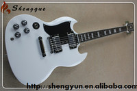 shengque white custom sg left hand electric guitar