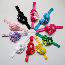 New Baby Rhinestone Rose Flowers Pretty Headband Stretch Headbands for Girls Cotton Toddlers Hair Band