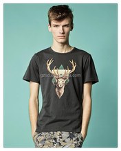 Newest style t shirt wholesale cheap deer print t shrit with short sleeves