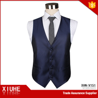 Shaoxing Men's Balls Suit Solid Dark Blue Polyester Custom Vest