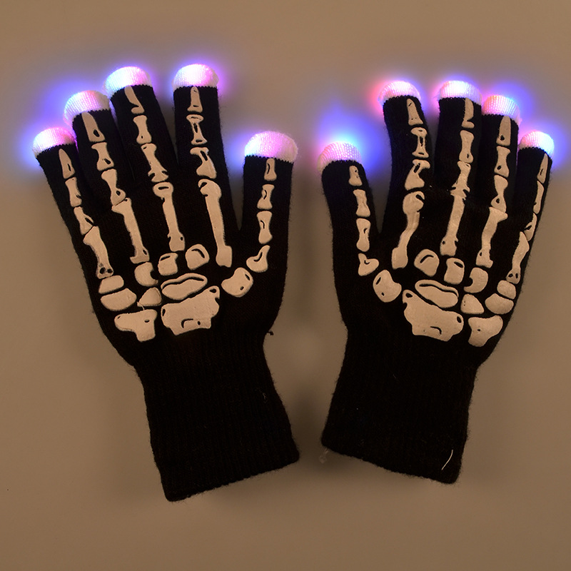 2016 new design flashing light up knitting finger halloween led lighting party gloves