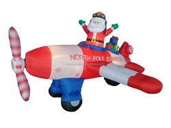 2015 NEW product 240cm/8ft inflatable santa flies a red and white plane with letters on it for Christmas decoration