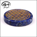 Engraved Flower of Life Coin Shape Palm Stone For Sale