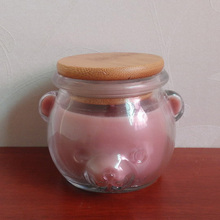 Home Aromatherapy plant scent aroma candle with pig shape art glass jar with wooden lid