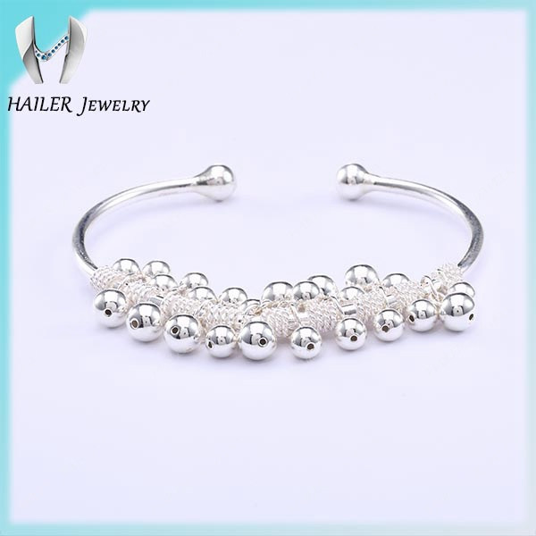 China platinum white gold plated silver bell bangle